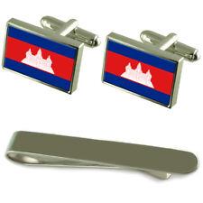 Cambodge Drapeau Boutons Manchette en Chrome Coffret Cadeau