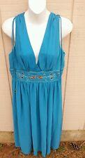 NWT ABS Allen Schwartz SZ 10 Turquoise Cocktail Dress w/Deep V Front & Beading