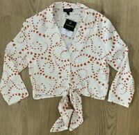 Topshop 6 Fit 8 Blouse Shirt Top New Heart Flocked White Red Tie Waist Loose