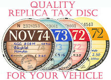 TAX DISCS.2 QUALITY REPLICAS FOR THE DISCERNING OWNER>>ALL YEARS FROM 1921- >>>>