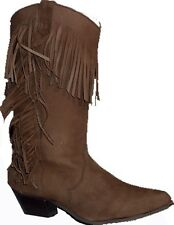Onorevoli marrone in pelle scamosciata Western Cowgirl Fringe Stivali