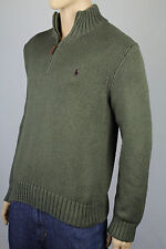 Polo Ralph Lauren Small S Green 1/2 Half Zip Sweater Burgundy Pony NWT
