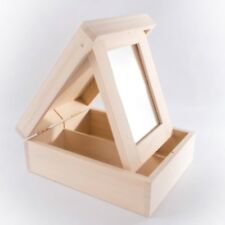 Wooden Mini Dressing Table/Jewellery Box With 2 Compartments Decoupage Craft Art