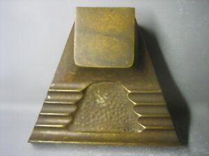Vintage antique hand made brass desktop item / pen holder ink bottle VERY RARE
