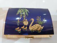 Vintage ENAMEL & Gold Tone GILT LINED CIGARETTE CASE Made in England by MELISSA