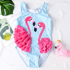 NEW Girls Blue Flamingo Ruffle Swimsuit Bathing Suit 2T 3T 4T 5T 6