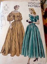 LOVELY VTG 1940s EVENING DRESS Sewing Pattern 16/34