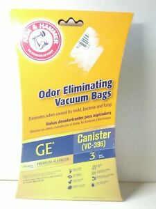 Arm & Hammer Odor eliminating 3 new GE Bissell Cannister VC-396