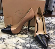 PRADA Nude/black Vitello Cipria Pump Shoe Sz 38