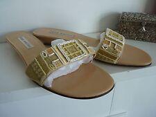 Ladies Lovely Ann Marino Beige Mix Beaded Evening Sandals Size 4, Bnwot
