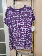 NWT LuLaRoe 2XL LIV Tee T Shirt Top Graphic Purple Ringer White CAT Cats Kittens