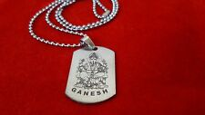 """Ganesh Hindu God tag Necklace Pendant With 22"""" Inch Chain Free Shipping"""