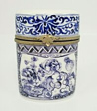 Cigarette Style Blue and White Hinged Floral Limoges Trinket Box