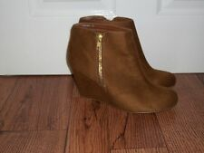 "LADIES BROWN SUEDE ANKLE BOOTS  4"" WEDGE HEEL,  SIZE UK 8 VGC"