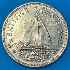 1966 Bahamas 25 Cents Bahamian Sloop Sailboat Coin