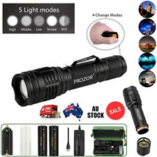 5000Lm Lumens LED Flashlight Hand Tourch Zoomable XML T6 Hiking Camping Light AU