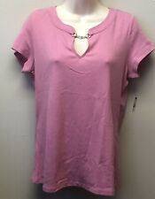 New Talbots Womens M Pink Pima Cotton Tee T-Shirt Knit Top Keyhole Neckline