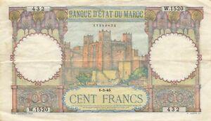 Morocco 100 Francs 1945 P-20