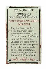 """16"""" Rustic NON PET OWNER Home PEOPLE RULES SIGN Wall Décor Plaque - NEW"""