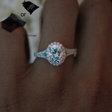 Zirconia Lady Jewelry Wedding Ring White Gold Plated Oval Cubic