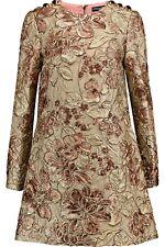 $3200 DOLCE & GABBANA Dress Gold Metallic Pink Floral Jacquard Shift IT44/US8