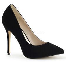 UK Size 11 Pleaser Amuse 20 Black Velvet High Heel Hidden Platform Court Shoes