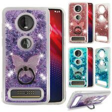 For Motorola Moto Z4 Liquid Glitter Bling Quicksand Soft Case Cover +Ring Holder