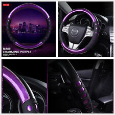 Purple 38cm Non-slip Car Handle Steering Wheel Case Leather Steering Wheel Cover