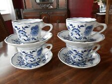 Lot of 4 Blue Danube Japan Cups & Saucers - Anniversary Banner - Mint!!