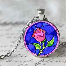Rose Cabochon Glass Tibet Silver Chain Pendant Necklace