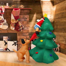 Inflatable Santa on Tree Chased by Dog Lighted Outdoor Christmas Decoration