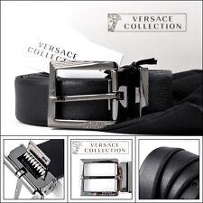 Mens VERSACE V910177 Black Leather Cut To Size Belt 120 cm 32 34 36 38 40 42 NWT