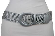 New Women Metallic Silver Mesh Fabric Braided Look Casual Fashion Belt Size S M