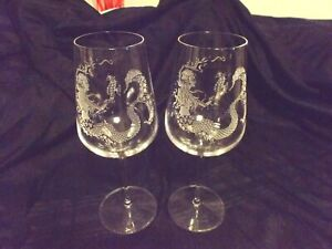 2 MERMAID holding a SEA HORSE ETCHED STEMMED WINE GLASSES ARTIST SIGNED 2016
