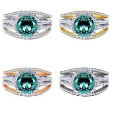 18k Gold Plated Brilliant Blue Topaz Wedding Engagement Silver Ring Set 2.35 Ct