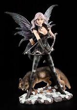 Elfen Figur - Bogenschützin mit Wolf - Kriegerin Amazone Fee Statue