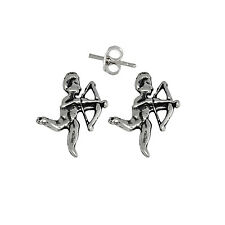Angel Shooting Arrow Pin Earring Sterling Silver .925 Oxidized | Made in USA