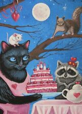 5x7 PRINT OF PAINTING RYTA BLACK CAT VALENTINES DAY RACCOON MOUSE SQUIRREL ART