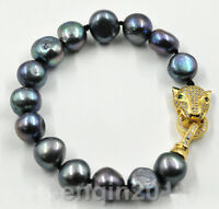 Perle Armband, Barock Perle Armband,11-12 mm schwarz Süßwasser Perle Armband