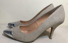 Size AU 10 Women's 2 Tone Color (Silver Pointed Toe & Khaki Color) Heel Shoes