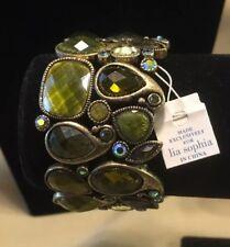 "New! Lia Sophia ""Lime Light"" Stretch Bracelet w/Genuine Abalone & Cut Crystals"