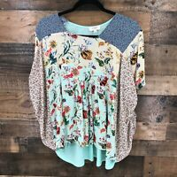 Umgee Women's Boho Mulitcolor Floral Mixed Media Square Neck Poncho Blouse