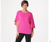 Dennis Basso Woven Scoop-Neck Top with Cape Sleeves Hot Rod Pink, 1X, A350766