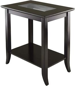 Genoa Rectangular End Table with Glass Top and shelf