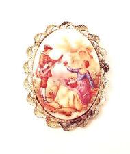 VINTAGE JEWELRY - 1980s Imitation Dutch Porcelain Miniature Brooch Pin