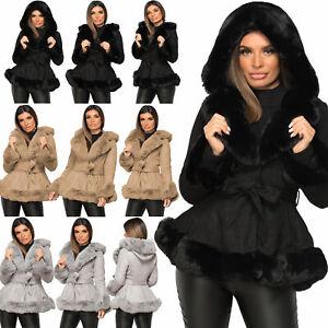 Womens Ladies Faux Fur Collar Hooded Vegan Suede Belted Winter Warm Jacket Coat