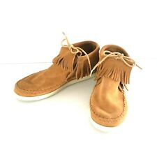 Minnetonka Sz 7 Moccasin  Hard Sole Fringe Leather Bootie Womens Brown New