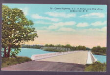 Jacksonville North Carolina Nc 1954 Ocean Highway Bridge New River Postcard Pc