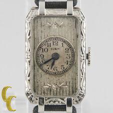 Elgin 14k White Gold Vintage Women's Hand-Winding Art Deco Watch w/ Silk Band