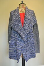 Lucky Brand Cardigan Sweater S Mixed Wrap Open Front Blue Gray Wool Blend NWT